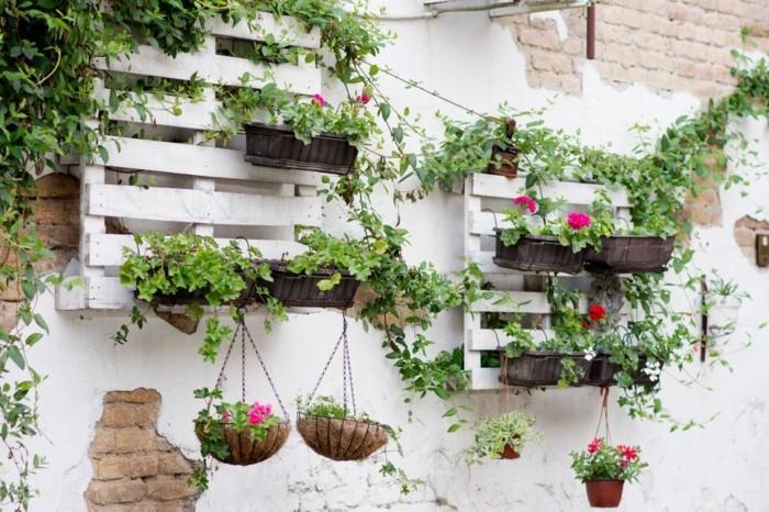gartenpflanzen geranien als wunderschöne gartendeko kreative gartenideen mit paletten