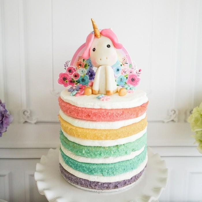 geburtstagstorte regenbogen einhorn ideen kinderparty feiern