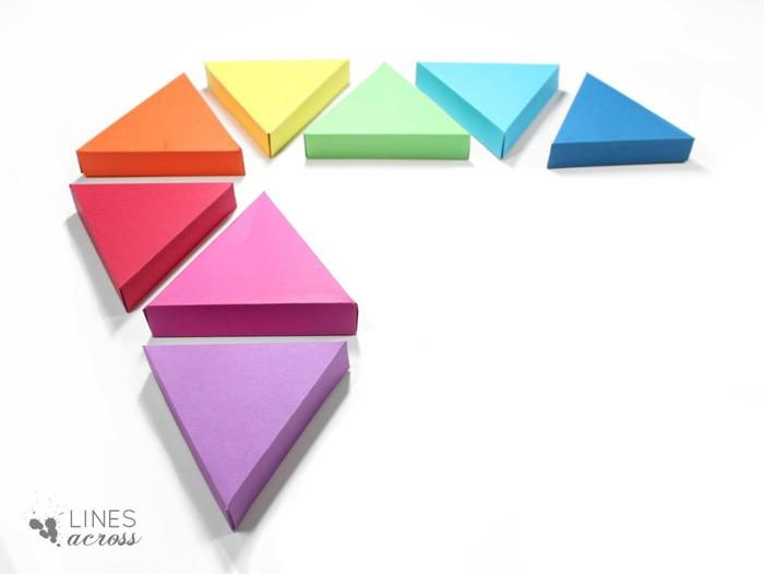 geschnkbox basteln geschnkideen diy deko upcycling ideen pyramide dreieck