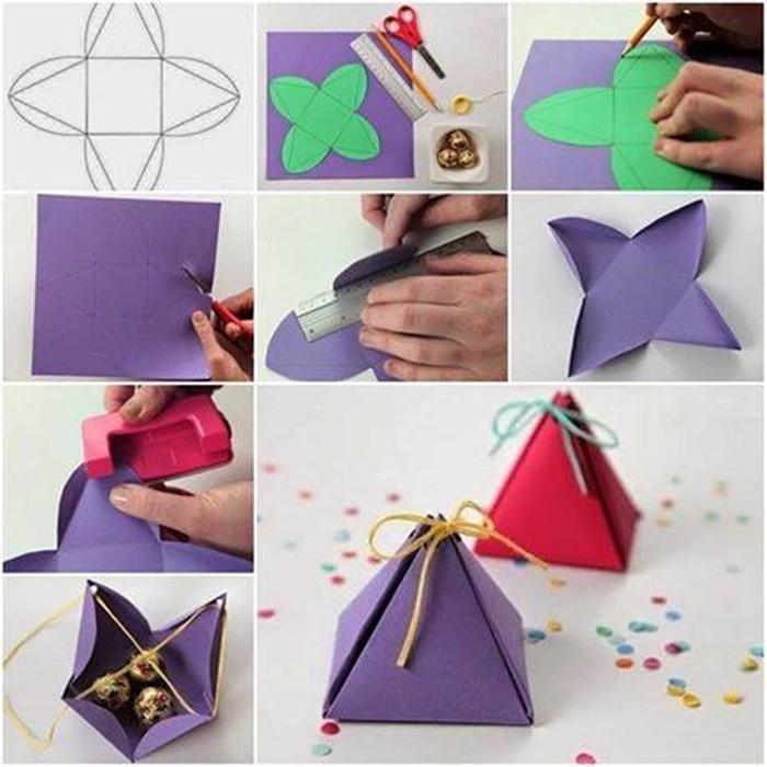 geschnkbox basteln geschnkideen diy deko upcycling ideen pyramide tutorial