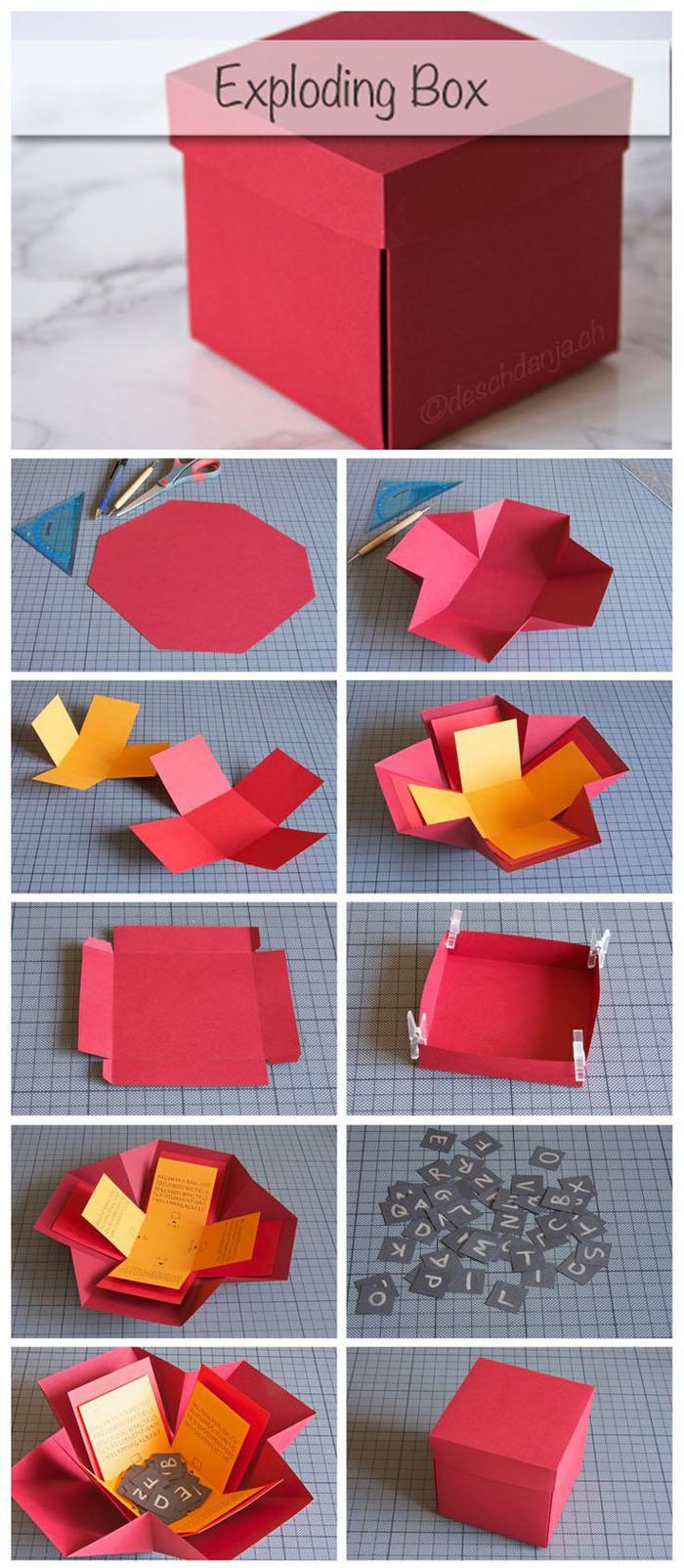 geschnkbox basteln geschnkideen diy deko upcycling ideen tasse selber gestalten box rot