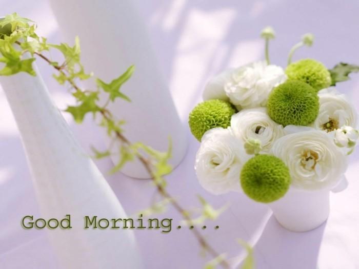 guten morgen gruß blumen vase