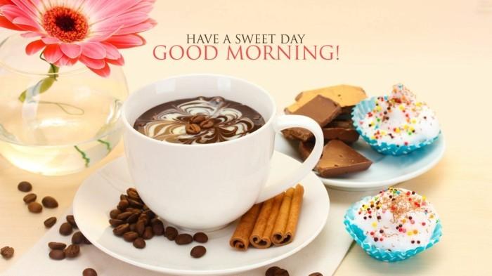 kaffee zimt cupcakes gerbera in glasvase