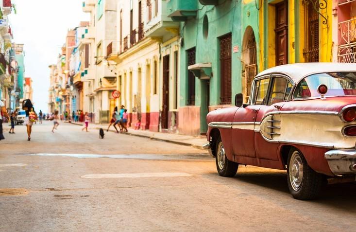 Street in Havana, Cuba with vitage american car