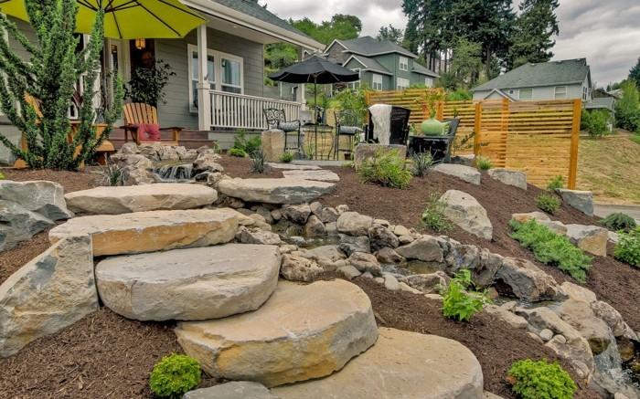 massive steinblöcke gartentreppe selber bauen vorgarten