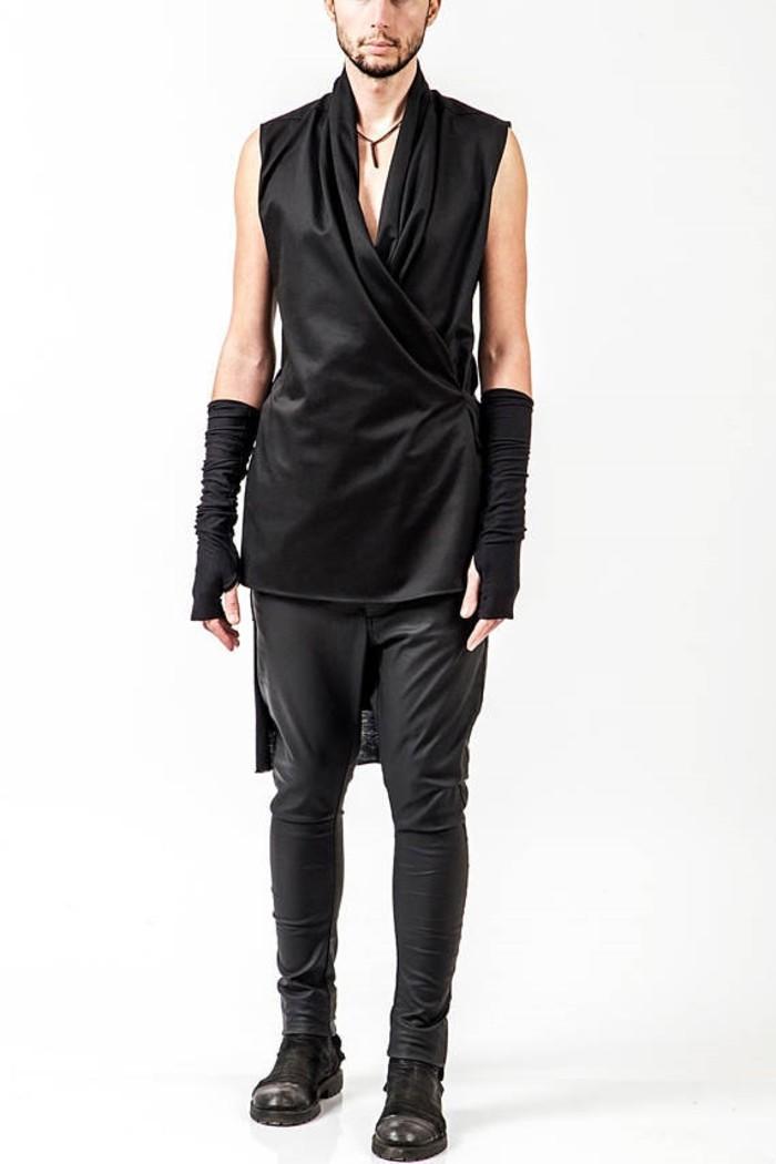 modedesign pendari kimono schwarz enge hosen herrenschuhe