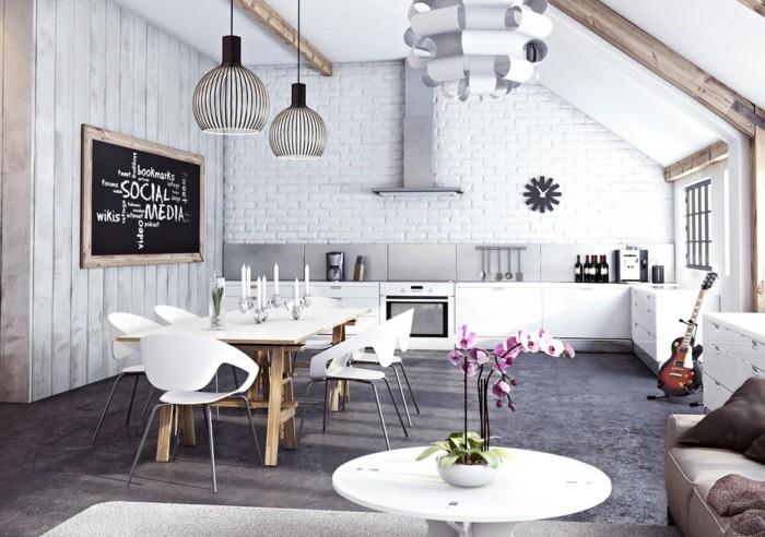 moderne küchen weiße skandinavische küche im offenen wohnplan