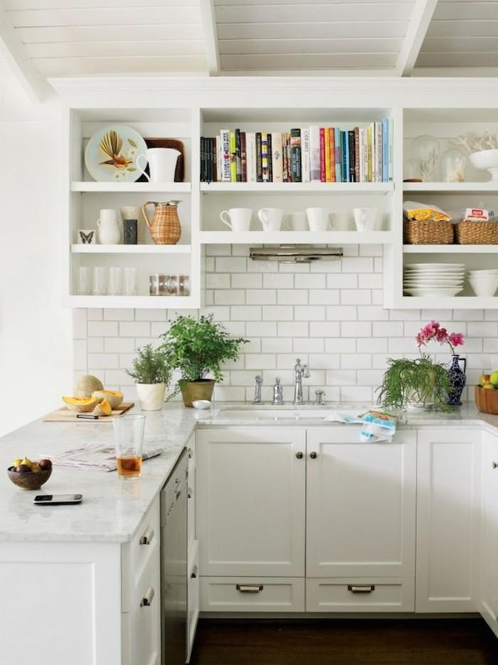 moderne küchengestaltung in weiß offene wandregale und viele pflanzen