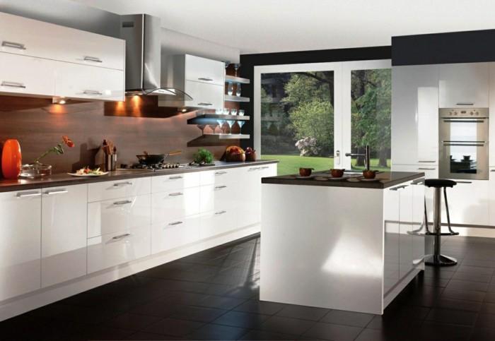 moderne küchen in weiß schwarz gestalten
