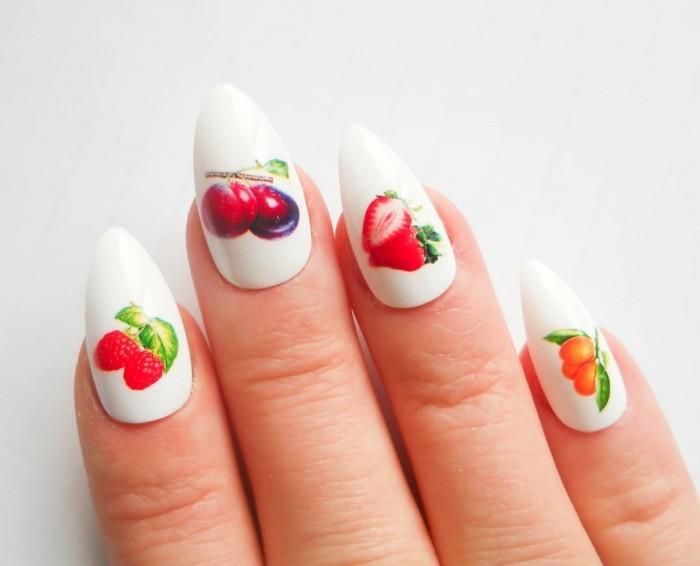 nageldesign ideen für den sommer mit früchten