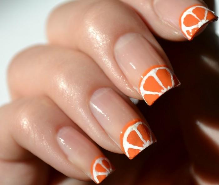 nageldesign ideen frische ideen mit orangen