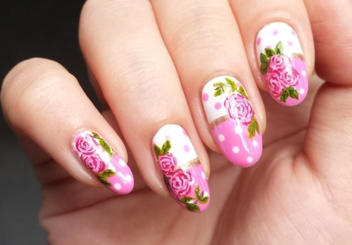 nageldesign ideen frische muster für den sommer mit rosen und punkten
