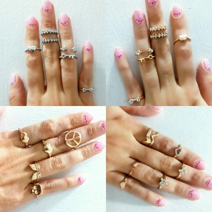 nageldesign ideen sommer rosa pink fingernägel ringe gold silber