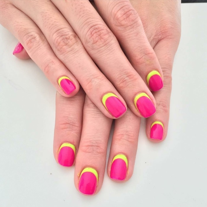 nageldesign sommer krasse farben kombinieren für einen schönen effekt