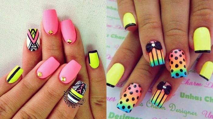 neon nageldesign sommer ideen fingernägel maniküre