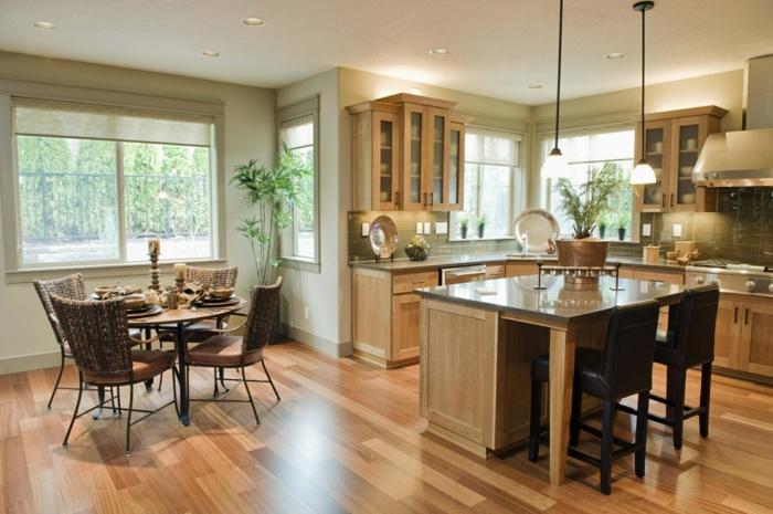 offene küche mit stilvollem bodenbelag und deckenbeleuchtung