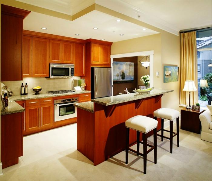 offene küche kleine wohnküche mit schöner farbkontrast