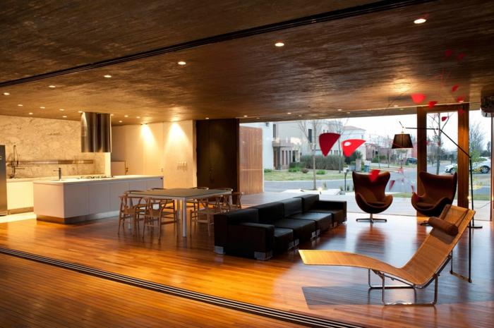 Offene Küche Miininalistische Kücheneinrichtung Mit Moderner Beleuchtung