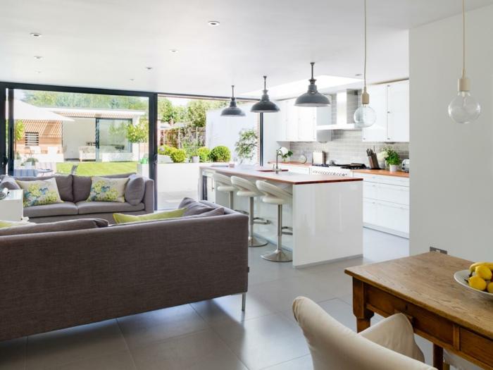 offene küche mit dem wohnzimmer kombinieren und passend einrichten