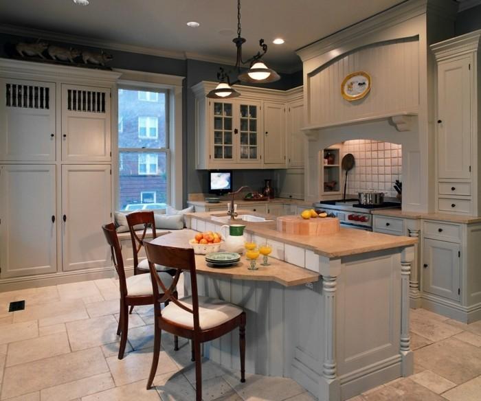offene küche mit kucheninsel und bodenfliesen