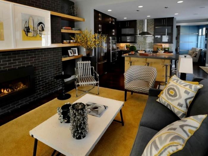 offene küche mit modernem wohnbereich in grau und gelb