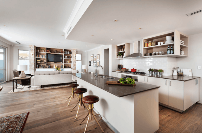 Wohnk che die essenzubereitung war nie so angenehm How to combine living room and kitchen