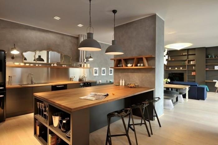 offene küche mit schicker wandgestaltung und hängelampen