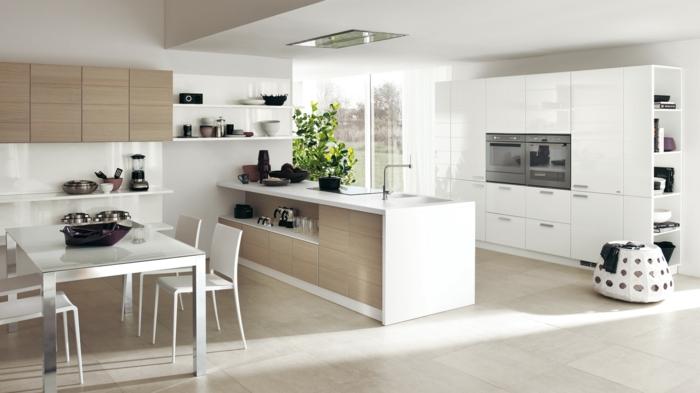 offene küche mit weißer einrichtung und stilvoller bodenbelag