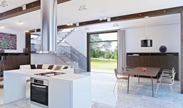 offene küche mit weißer kücheninsel und stilvollem essbereich