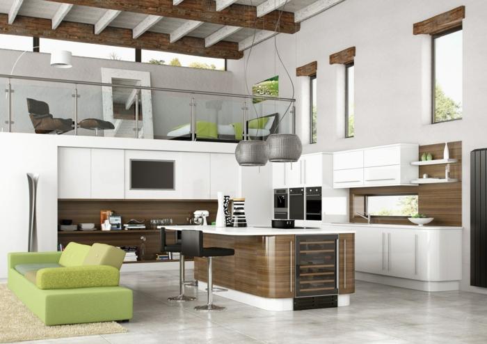 offene küche moderner offener wohnplan mit grünen akzenten