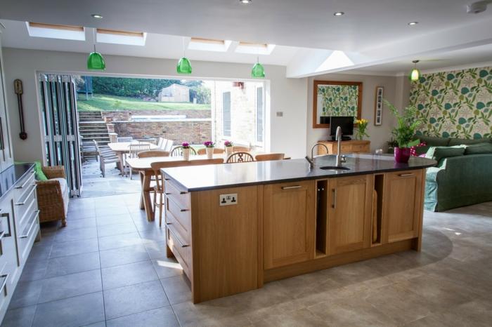 offene küche moderner und funktionaler kochbereich mit bodenfliesen und kücheninsel