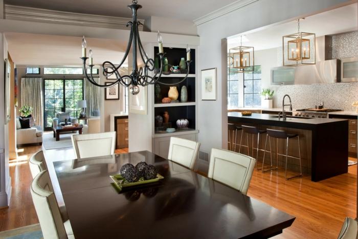 offene küche schöne farbkontrase und gemütliche atmosphäre