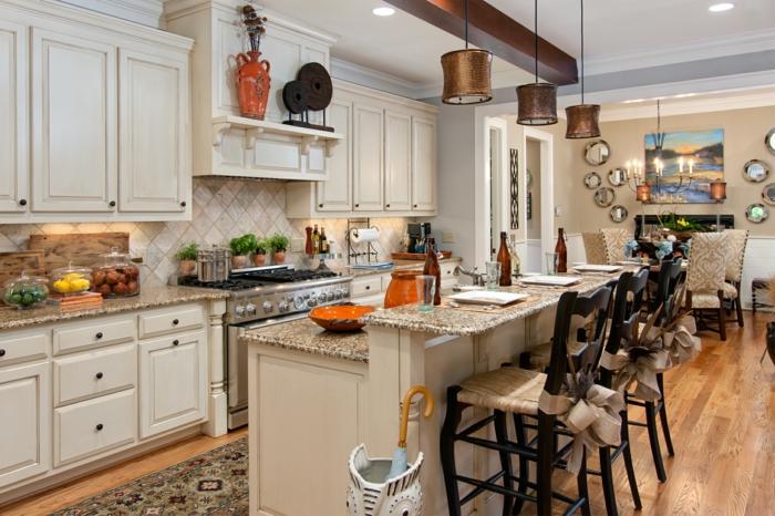 offene küche schöne muster und neutrale farben