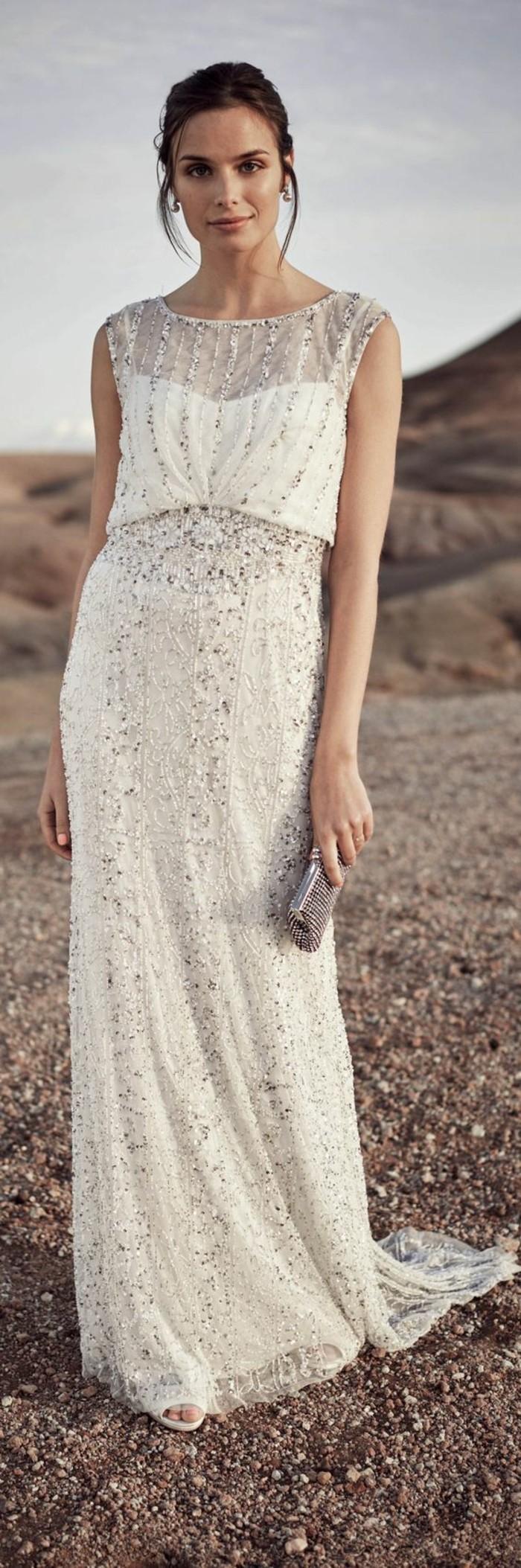 paillettenkleid boho stil hochzeitskleid lang sommer ideen