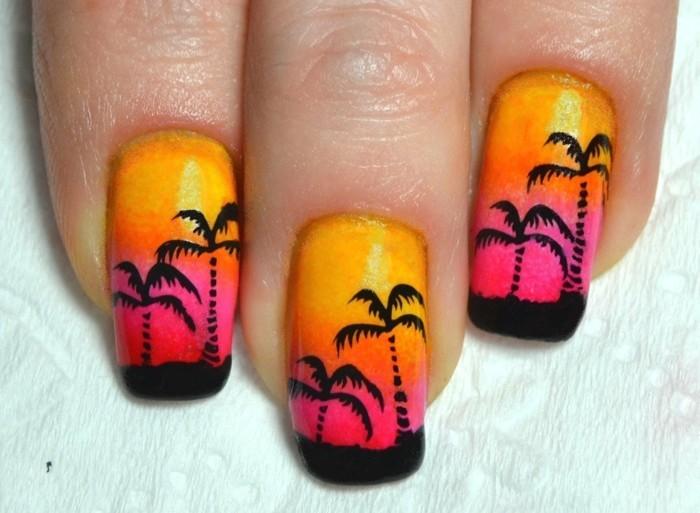 palmen motive für sommer nageldesign selber machen