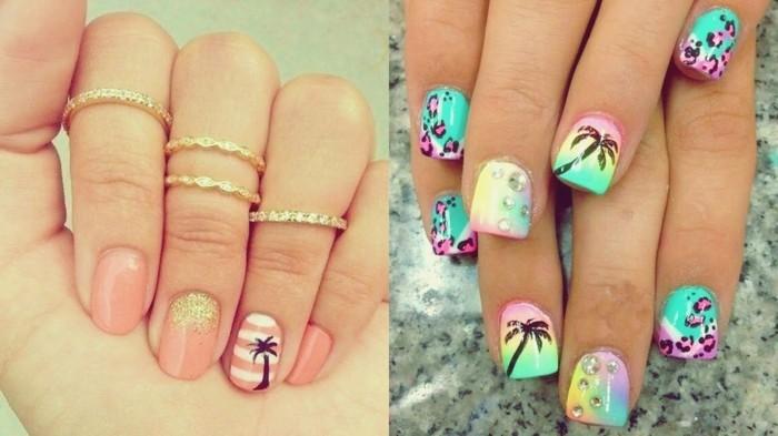palmen motive sommer nägel ideen fingernägel