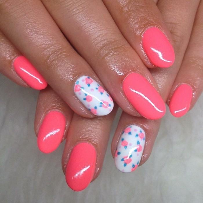 pinke rosa fingernägel rosen muster sommer nageldesign