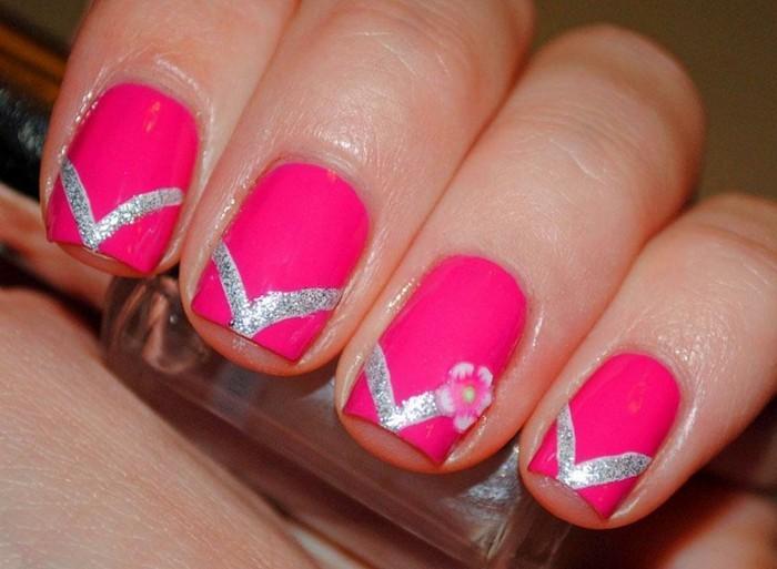 pinke sommer ideen nageldesign maniküre selber machen nagellack