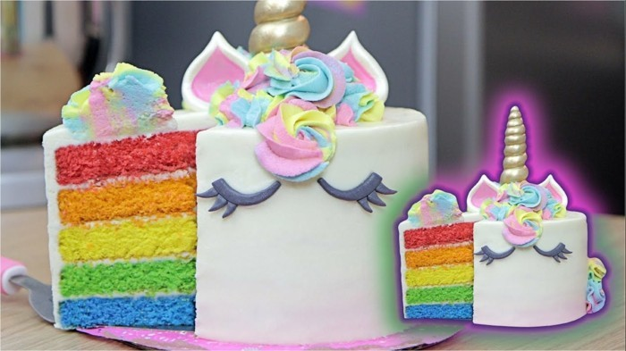 regenbogentorte unikorn kindergeburtstag feiern ideen