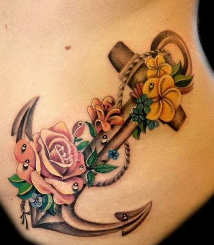 rosen anker tattoo motiv frauen tattoos ideen