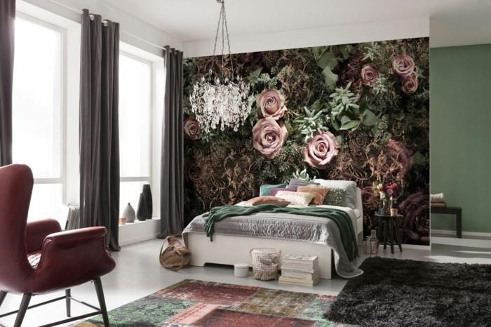 rosentapete im schlafzimmer ausgefallene akzentwand und herrliche teppiche