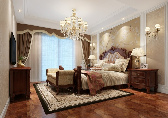 schlafzimmer ideen abgehängte decke und schöner bodenbelag