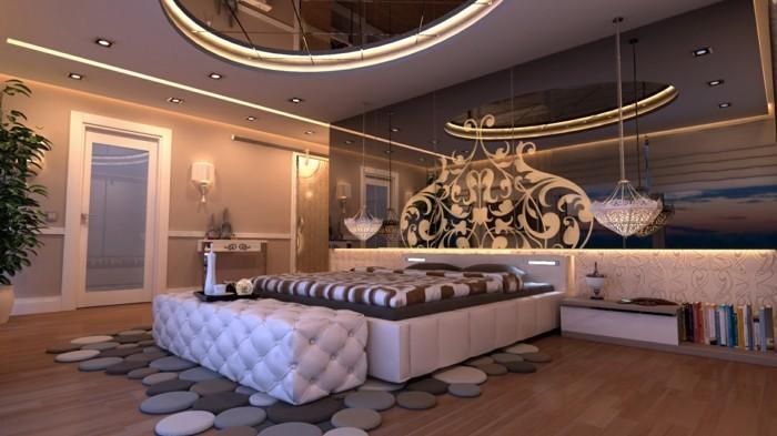 schlafzimmer ideen ausgefallener teppich und wunderschöne zimmerdecke