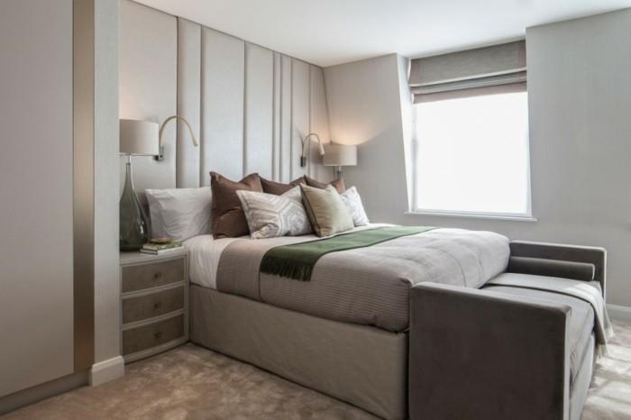 schlafzimmer ideen schicker teppichboden und schlafzimmerbank