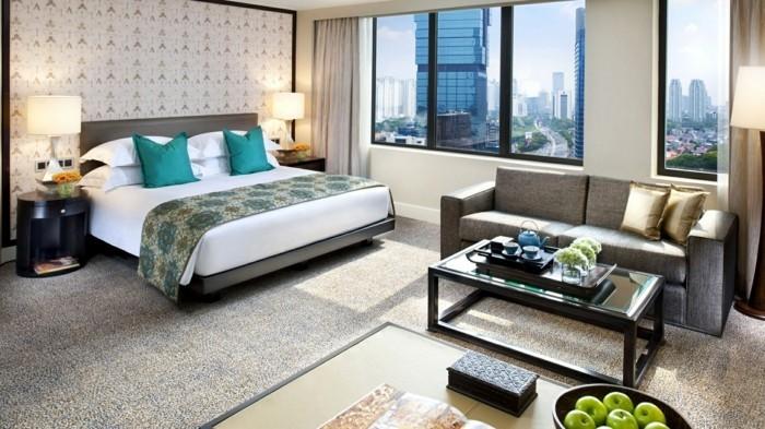 schlafzimmer ideen stilvoller teppichboden und schöne schlafzimmertapeten
