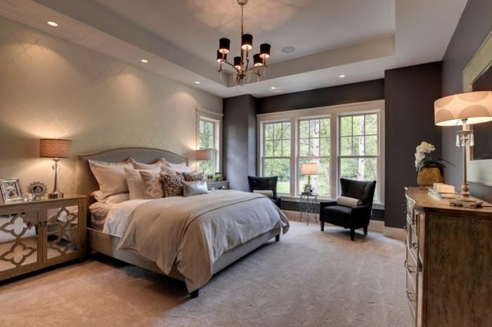 schlafzimmer ideen teppichboden und dezente mustertapeten