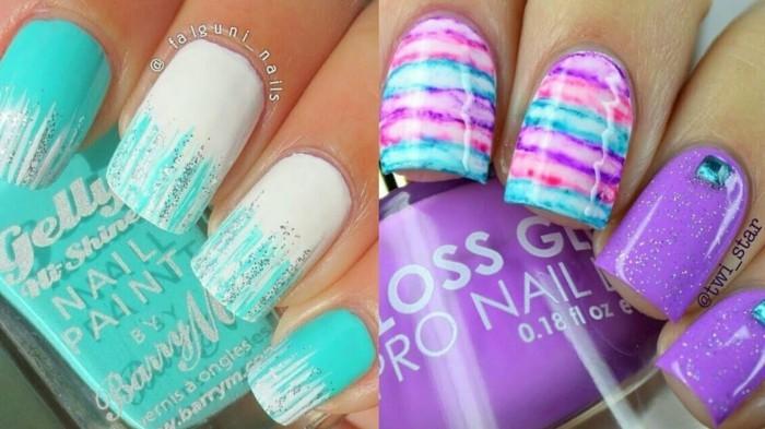 sommer nailart nageldesign ideen azurblau lila rosa nagellack