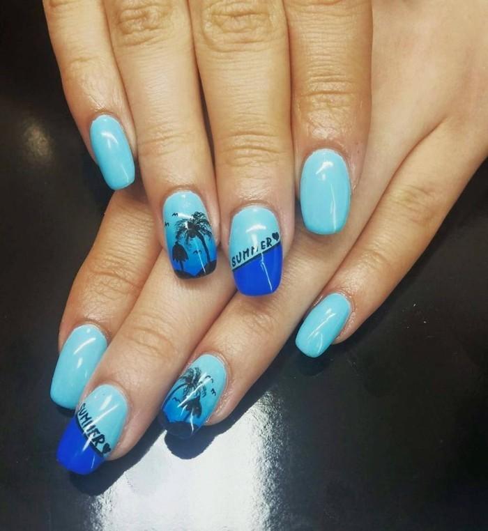 sommernägel blaue farbnuancen und sommerstimmung