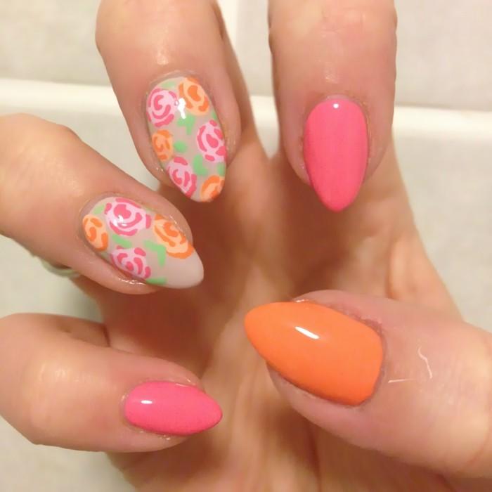 sommernägel schöne pastelfarben und rosen