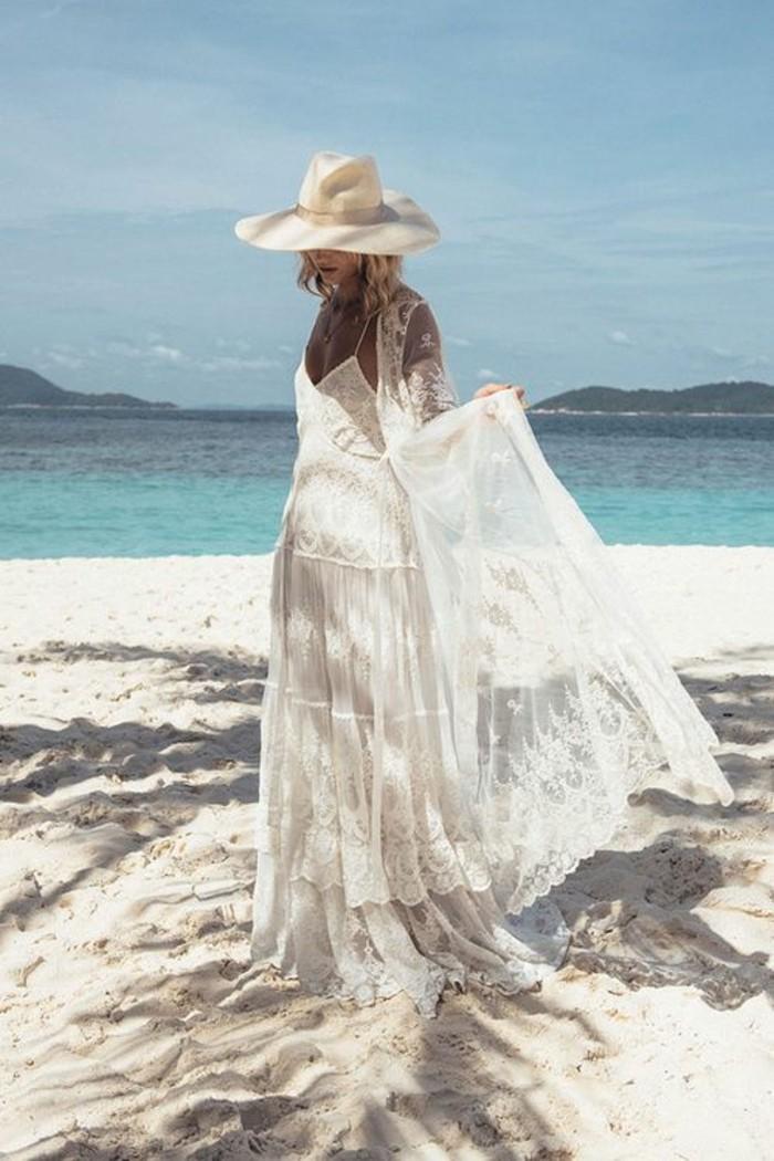 strandhochzeit ideen sommerhochzeit spitze tüll langes brautkleid boho stil